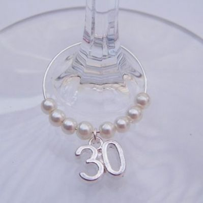 30th Birthday Wine Glass Charm - Beaded Style